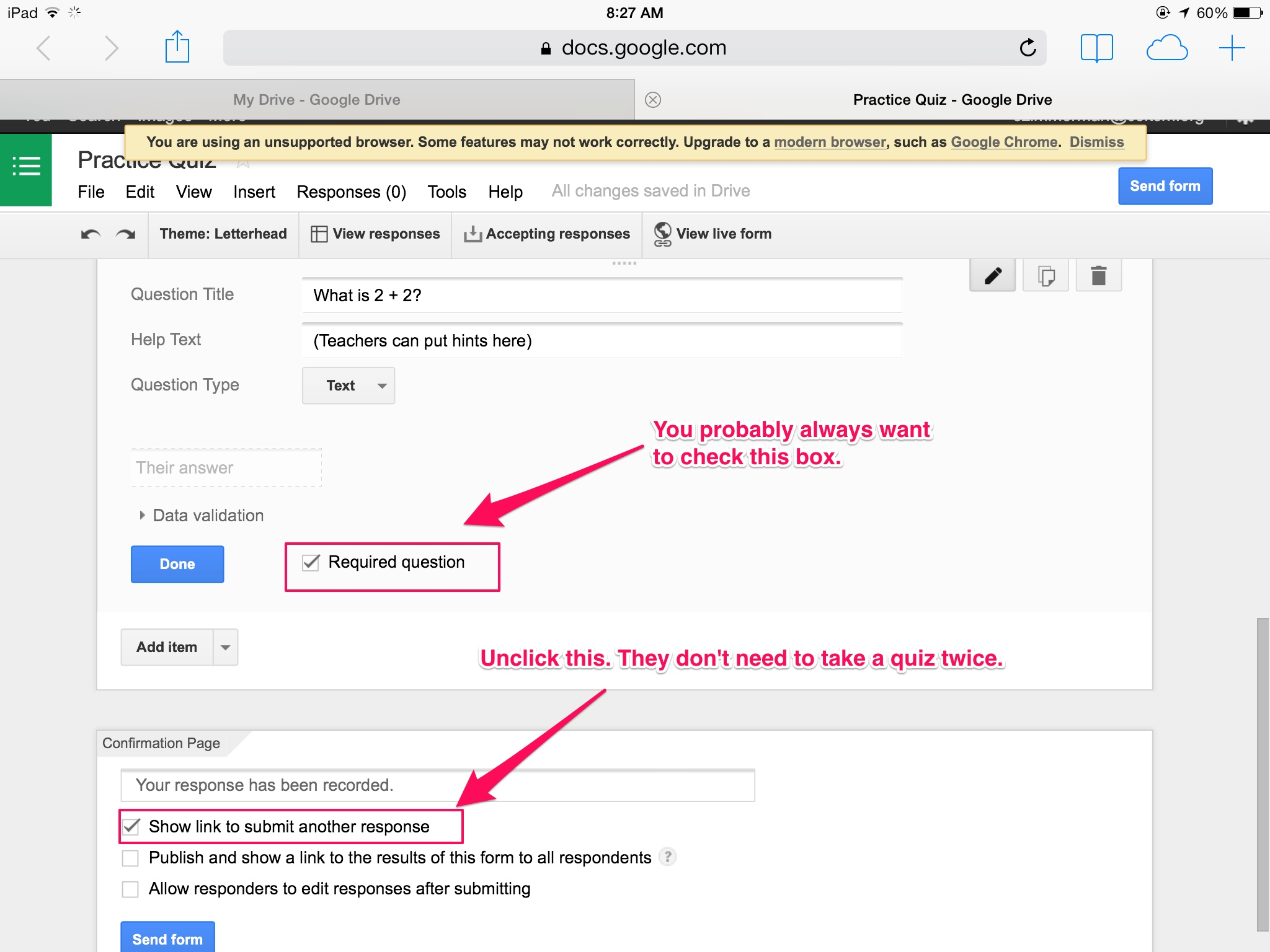 Paperless Quizzes Using Google Forms (that GRADE THEMSELVES ...